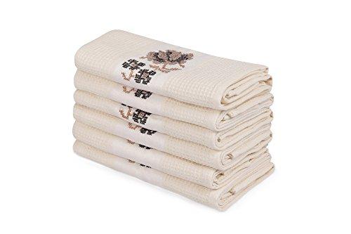 6PCS Wash Handtuch Set PREMIUM QUALITÄT hergestellt in der Türkei 100% Baumwolle, 250gr/m2Hotel Qualität/Blumen Pflanze mit Creme...