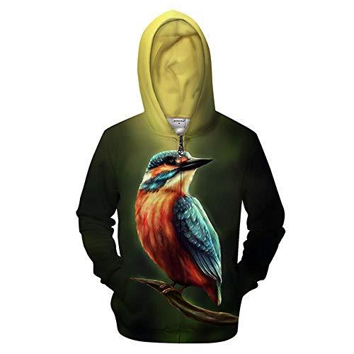 OWRZ Hoodie Zip Up Für Herren Farbiger Vogel 3D-Druck Reißverschluss Hoodie Männer Strickjacke Langarm Kapuze Sweatshirt Beiläufige Kühle Hoodie,6XL -