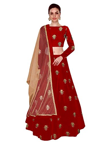 Shree Impex Women's Embroidered Taffeta Silk Red Semi Stitched Lehenga Choli (Red,...