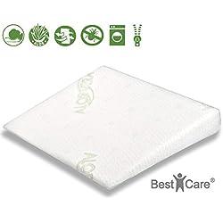 BestCare - Cojín de cuña para bebés, ideal para la minicuna, cuna, capazo o el carro, con propiedades de descompresiòn, incluye funda de aloe vera especial para piel sensible, mediano