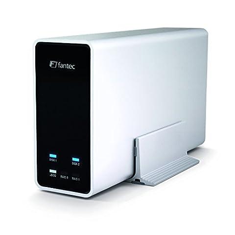 Fantec mobiRAID X2 - HDD/SSD enclosures (3.0 (3.1 Gen 1), HDD, SSD, SATA, Serial ATA II, Serial ATA III, 0, 1, JBOD, White,
