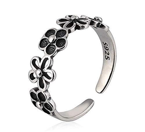 iszie joyería plata de ley retro ajustable hueco flor vintage anillo