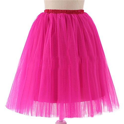 Anna Kostüme Diy Und Elsa (Honeystore Damen's 5 Layer Knielanger Rock Elastic Bund Tutu Prinzessin Tütü Tutu Petticoat Ballettrock One Size)