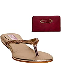 SLN Synthetic Leather Beige V Strap Flat Heel Casual Flip Flop With Maroon Clutch For Women
