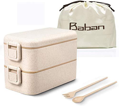 Baban lunch box, bento box/scatole bento impilabile double lock catch design contenitori/con cucchiaio, presentato sacchetto pranzo portaoggetti in seta, wheat straw lunch box