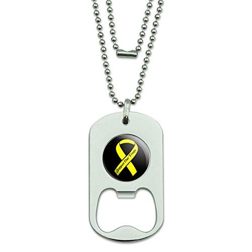 Unterstützen Unsere Truppen Band–Gelb auf Schwarz Dog Tag Flaschenöffner (Truppen Dog Tag)