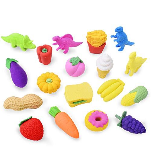 32pz Goa da Cancellare Animale Dinosaur Frutta per Matita Scuola Regalino Bomboniera Gadget per Compleanno Bambini Battesimo Natale