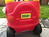 3D Printed personalised Number Plate for COZY COUPE CAR