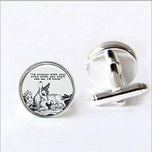 Oval Bambi & Mutter immer mit Sie 'Zitat Dome Manschettenknöpfe, Einzigartiges Manschettenknöpfe Maßgeschneidertes Geschenk Everyday Manschettenknöpfe Geschenk