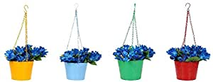 Klassic Hanging Bucket style Metal Planter Pot with Chain, Set of 4 (Size 6.5 Inch, Colour : Blue, Yellow, Red, Green)