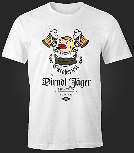 Herren T-Shirt - Oktoberfest Dirndl Jäger - Comfort Fit MoonWorks® Weiß