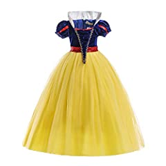 Idea Regalo - ELSA & ANNA® Ragazze Principessa Abiti Partito Vestito Costume IT-SNWYEL04 (5-6Anni, Giallo)
