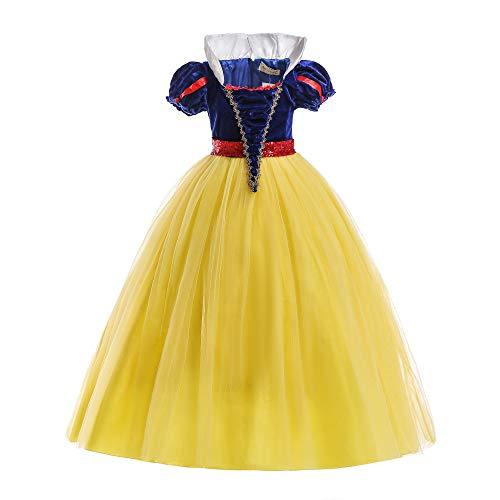 ELSA & ANNA® Mädchen Prinzessin Kleid Verrücktes Kleid Partei Outfit Kostüm DE-SNWYEL04 (7-8 Jahre, Gelb)