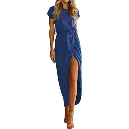 oho Langes Maxikleid Abend Partei Strand Kleidet Sundress Kostüm mit Einem Körper, der Gurt formt(Blau,EU-44/CN-XL) (Schwarzen Barbie Puppe Kostüm)
