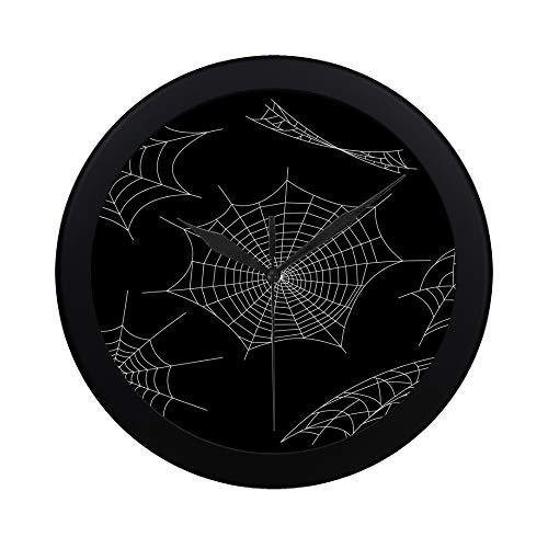 EIJODNL Moderne einfache Schwarze Spinnen und gebrochene Netze Wanduhr Indoor Sweep Bewegung Clcok für Büro, Bad, Wohnzimmer dekorative 9,65 Zoll