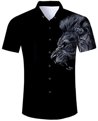 Goodstoworld camicia hawaiana da uomo camicie estiva fiori tropicale 3d stampa manica corta hawaii casual shirt leone nero