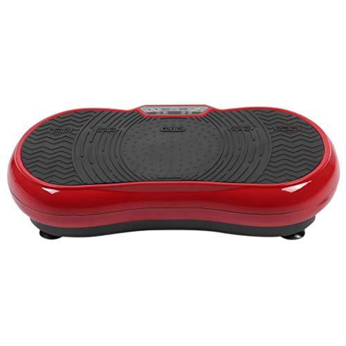 Tatayang Profi Vibrationsplatte Vibrationstrainer, 200W Ganzkörper Trainingsgerät mit Trainingsbänder, LCD Display & Fernbedienung (Rot)