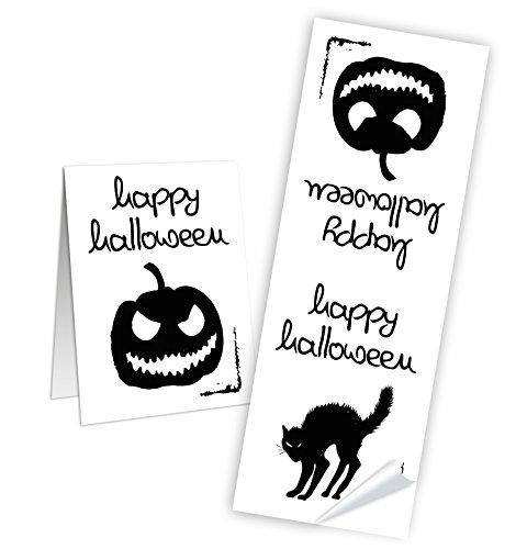 50 Stück schwarz-weiße Aufkleber Sticker Halloween KÜRBIS KATZE - Etiketten Banderolen Verpackung Papiertüten zukleben für Kinder Süßigkeiten Mitgebsel-Tüten Geschenke give-away