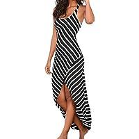 Vestido mujer ♛JiaMeng Falda plisada sin mangas de las mujeres de las rayas de la gasa del vestido de playa flojo sin mangas