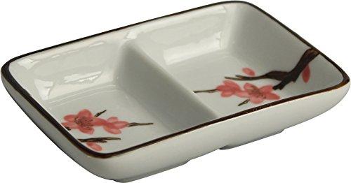 """mit zwei Fächern \""""Sakura\"""" 桜 Snack- & Dipschale / Soja-Saucen- Schälchen 11 x 7,5cm"""
