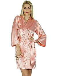 6c1568b195 Bimba Women Short Satin Getting Ready Robe Bridesmaid Kimono Sleeve Coverup  Black