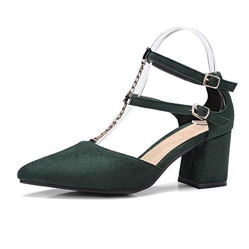 3b17df35e2f716 Voguezone009 Femme Pur Cuir De Vache Boucle De Talon Moyen Bout Pointu  Ballerines-flats Armée. Chaussures ...