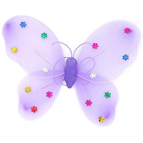 Malloom® Zubehör 3/Set Mädchen Jungen LED-Blinklicht Fairy Schmetterling Flügel Zauberstab Haarband Zauberstab LED-Blinklicht Kostüm Spielzeug (lila, 40 * 31cm)