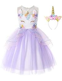 JerrisApparel Mädchen Einhorn Blume Kostüm Hochzeit Party Prinzessin Kleid