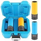 TECPO Kraft Schoneinsätze 2-teilig Alu-Felgen Nuss Set Steckschlüssel Satz Stecknüsse SW 17mm 19mm