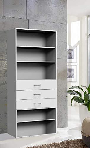 3-schubladen-bücherregal (lifestyle4living Regal in weiß mit 3 verstellbaren Böden und 3 Schubladen, schmales Bücherregal mit viel Stauraum, ca. 80 cm breit, universell einsetzbar)