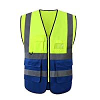 KKmoon High Visibility Safety Vest with Pockets Reflective Strips Zipper Security Working Clothes Safety Waistcoat