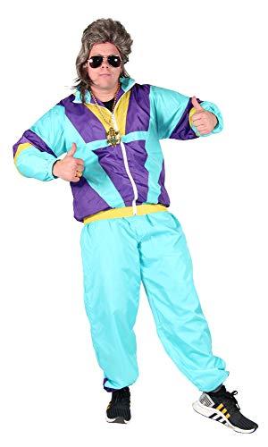 Foxxeo türkis 80er Jahre Kostüm für Erwachsene Trainingsanzug Assianzug Assi Gr. S-XXXL Größe XL