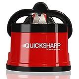 QUICKSHARP® - Affilacoltelli semplice e sicuro per cuochi professionisti e amatoriali, risultato ultra-preciso, facile da usare grazie al fissaggio a ventosa, colore: Rosso