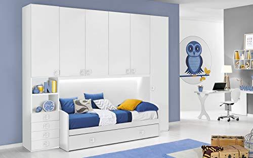 Dafnedesign.Com - Habitación Completa con Puente, Color Blanco Doble Cama Individual y Armario 300...