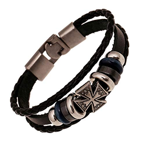 Truteraa - 2019 hochwertiger Weinlese-Stern-Anker Schädel-Korn-Armband-Woven Punk Lederarmband für Männer Schmuck Hip-Hop-mehrschichtigen Braid-Verpackungs-Armband [9]