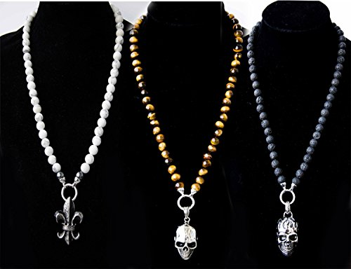 Halbedelstein Totenkopf Skull Halskette Rosenkranz Onyx, Herren Schmuck Männer schwarz Perlenkette Bikerschmuck Skull Edelstahl Gebetskette Geschenk Gothik Matt...