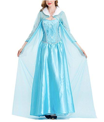 ZQZP TOP Damen Elegante Prinzessin ELSA Kleid mit Warmer Stola Pailletten-Kleid Kostüm Cosplay - Frozen Elsa Kostüm Frauen