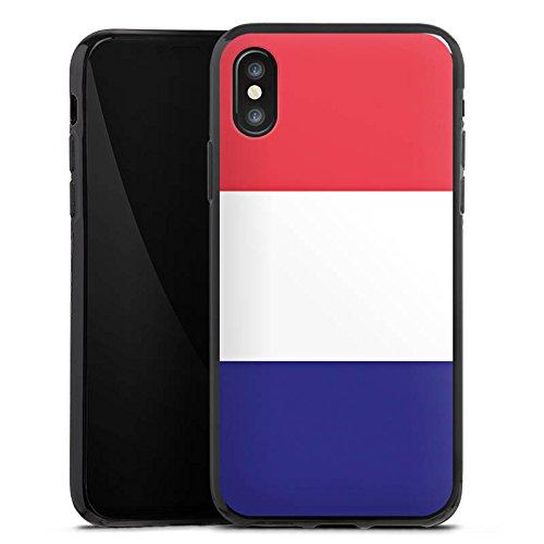 Apple iPhone X Silikon Hülle Case Schutzhülle Frankreich Flagge Fußball Silikon Case schwarz
