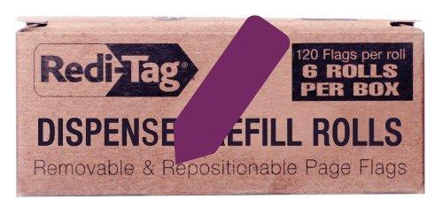 redi-tag-solid-arrow-dispenser-flags-6-roll-refill-120-flags-per-roll-1-7-8-x-9-16-inches-purple-916