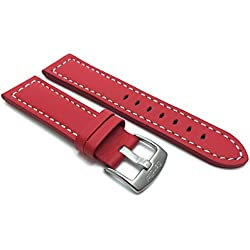 28mm Red Racer with White Stitching, Genuine Leather Watch Strap Band, with Stainless Steel Buckle, NEW!