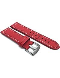 28mm rojo Racer con bordado de color blanco, piel auténtica correa para reloj banda, con hebilla de acero inoxidable, nuevo.