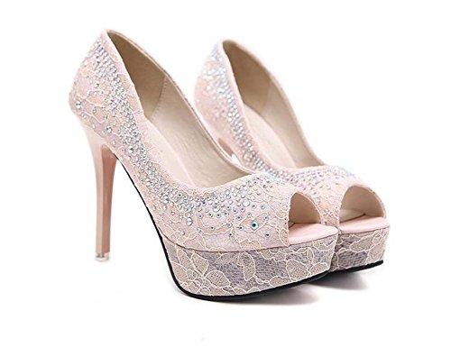 Donne pompa 12cm a spillo 4 cm spessa piattaforma Peep toe tacchi alti scarpe da sposa affascinante strass pizzo abito bling scarpe partito scarpe taglia EU 34-39 ( Color : Rosa , Size : 35 )