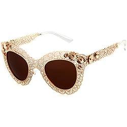 ADEWU Damen Sonnenbrille Gold Gold