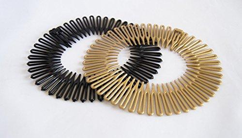 Pack von unsichtbaren 2Haarreifen Schwarz und Gold matt. Gratis - Pack Plektren