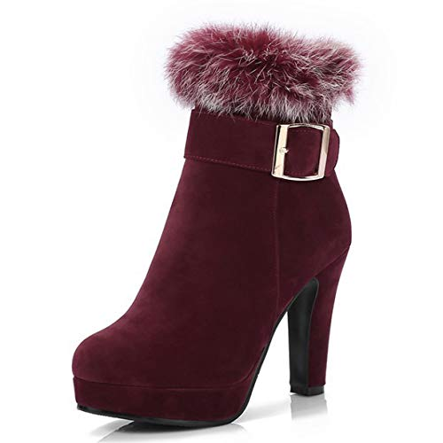 Damen Stiefel Reißverschluss Plattform Schuhe Stiefeletten Elegant Hoher Absatz Stiefel,Red-EU:39=8.5B(M) US