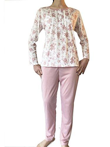 Lady Bella - Pigiama Donna Cotone 100% a Manica Lunga e Pantalone, scollo Serafino, Motivo Floreale Stampato ed Eleganti Inserti in Pizzo sulla Maglia Rosa
