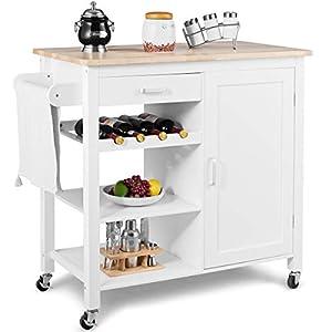 COSTWAY Küchenwagen rollbar, Kücheninsel mit Handtuchhalter, Küchenschrank aus Holz, Servierwagen weiß, Kücheninselwagen, Mikrowellenwagen, Sideboard 102 x 48 x 91 cm