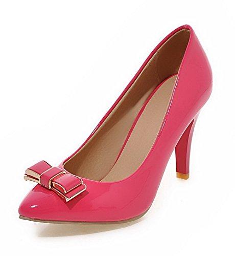AgooLar Femme Verni Pointu Stylet Tire Couleur Unie Chaussures Légeres Rose
