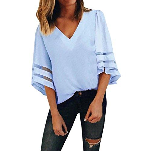 OYSOHE Tops Damen V-Ausschnitt, 2018 Neueste Vogue Frauen V-Ausschnitt Tops Kurzarm Pullover Bluse T-Shirt (L, Blau)