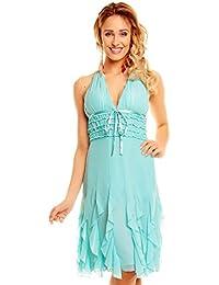 Abendkleid Kleid Party Glamour Chiffon Cocktailkleid S M L XL 310A Brautjungfern Sommer